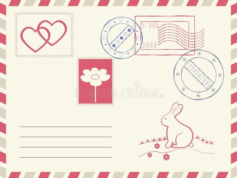 Elementos do porte postal e da decoração. ilustração royalty free