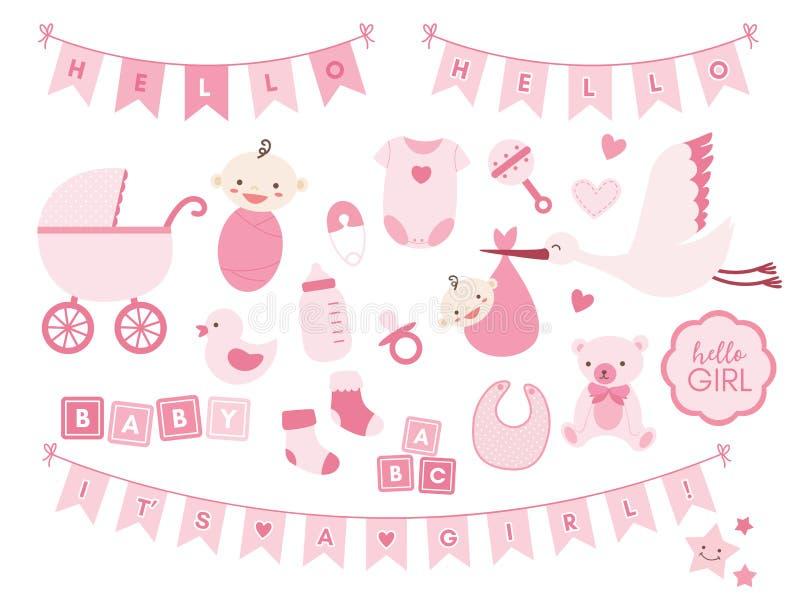 Elementos do projeto do chuveiro do bebê Grupo do vetor de ícones recém-nascidos bonitos ilustração stock
