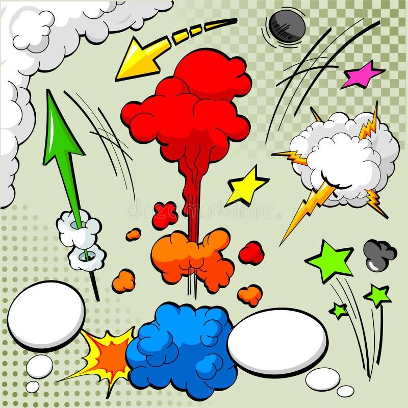 Elementos do projeto da banda desenhada ilustração stock
