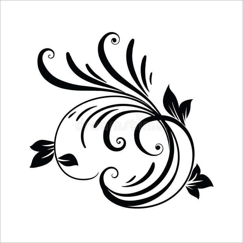 Elementos do projeto da flor do vintage Formas encaracolado pretas dos ramos isoladas no fundo branco Ilustra??o do vetor ilustração do vetor