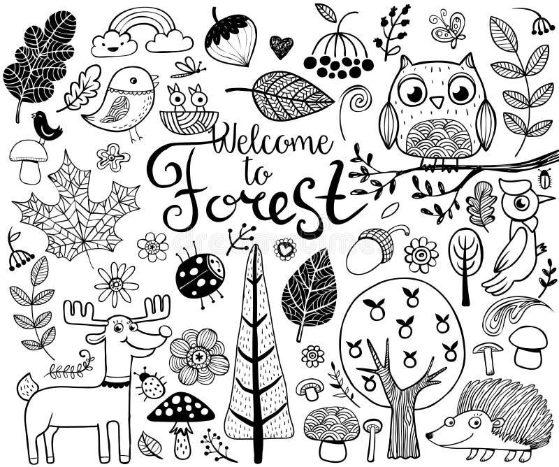 Elementos do projeto da floresta no estilo da garatuja ilustração royalty free