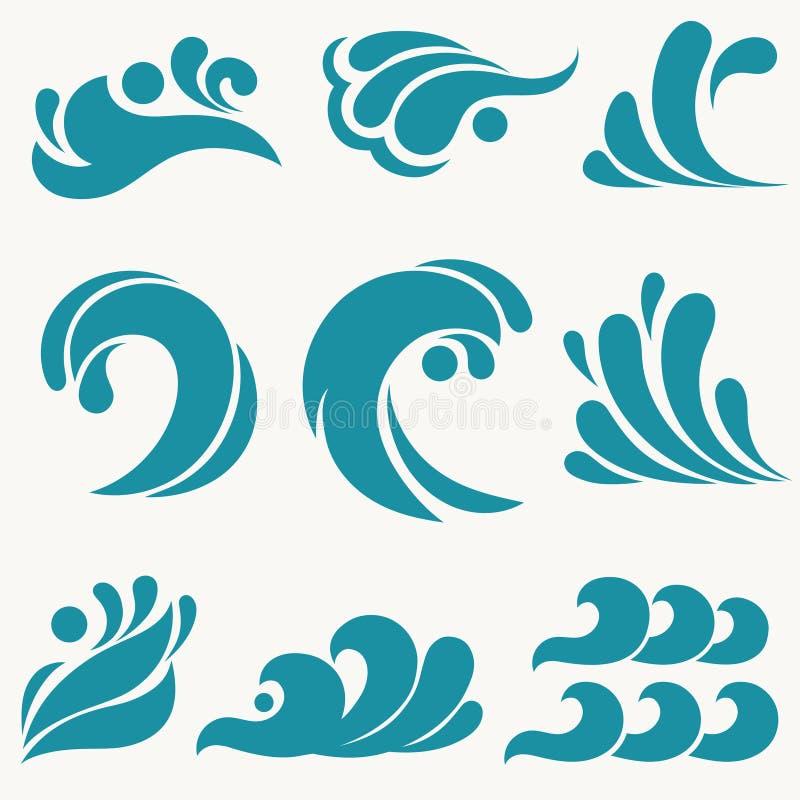 Elementos do projeto da ?gua Ícone da onda do mar, projeto do símbolo do oceano Vetor ilustração do vetor