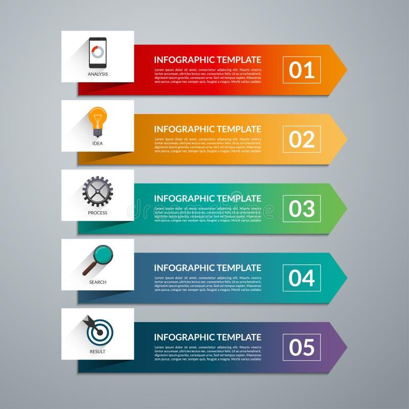 Elementos do projeto da seta para o infographics do negócio 5 opções, etapas, peças ilustração royalty free