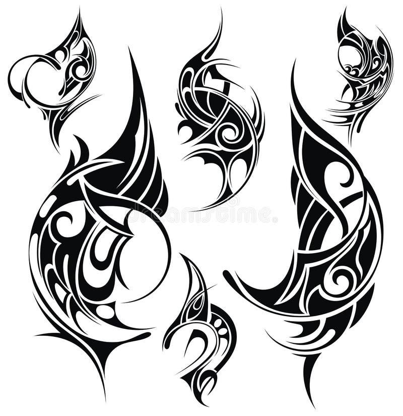 Elementos do projeto da tatuagem ilustração royalty free