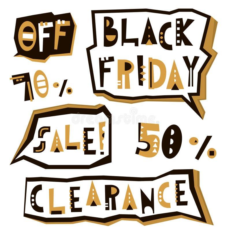 Elementos do projeto da venda de Black Friday no estilo geométrico Etiquetas da inscrição do afastamento de Black Friday, etiquet ilustração royalty free