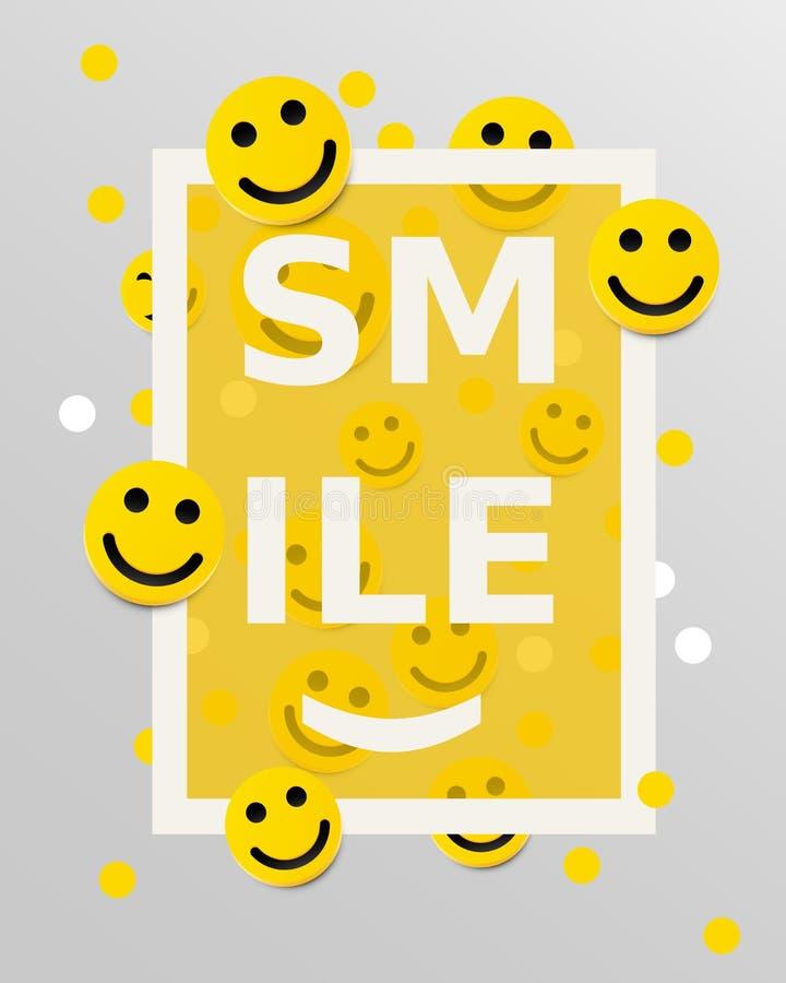 Elementos do projeto das caras do smiley Ilustração do vetor Fundo com sorrisos ilustração do vetor