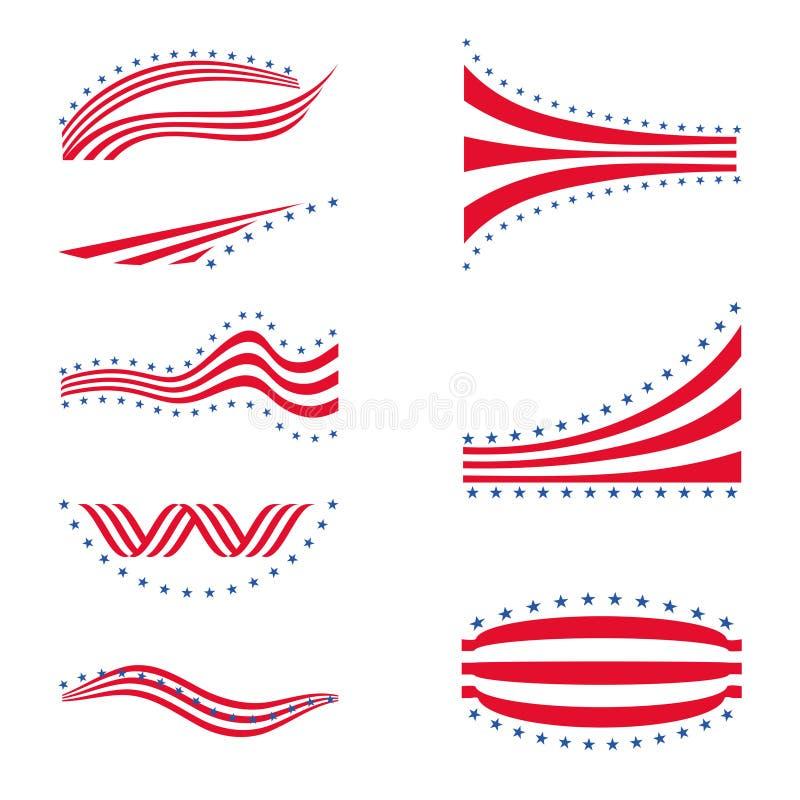 Elementos do projeto das listras do logotipo da bandeira da estrela dos EUA ilustração do vetor
