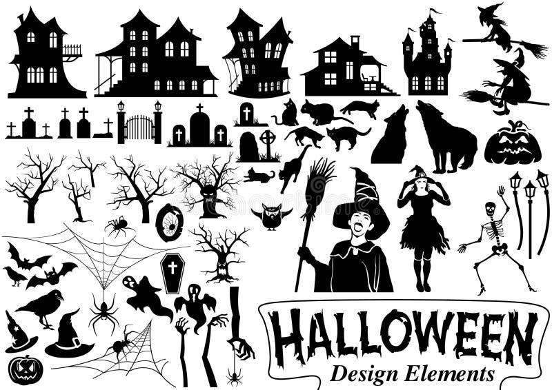 Elementos do projeto de Halloween ilustração stock