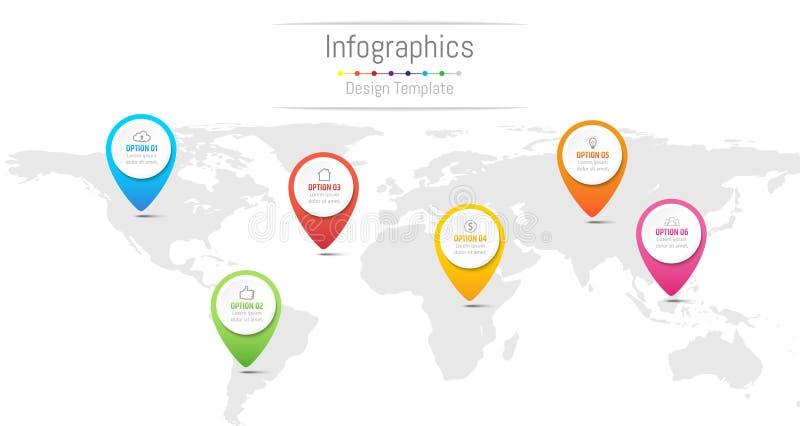 Elementos do projeto de Infographic para seus dados comerciais com 6 opções ilustração stock