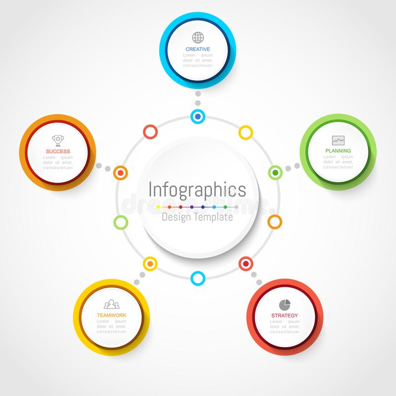 Elementos do projeto de Infographic para seus dados comerciais com 5 opções ilustração stock