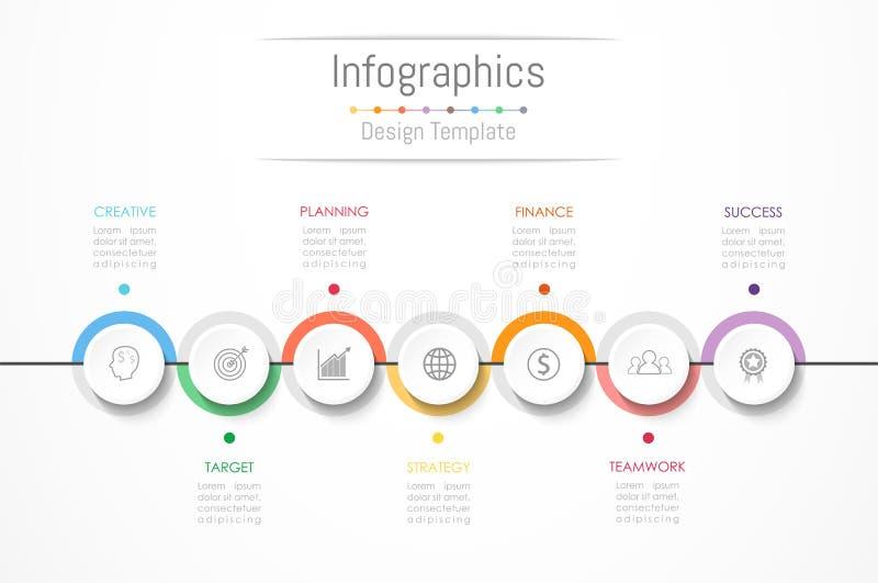 Elementos do projeto de Infographic para seus dados comerciais com 7 opções ilustração royalty free