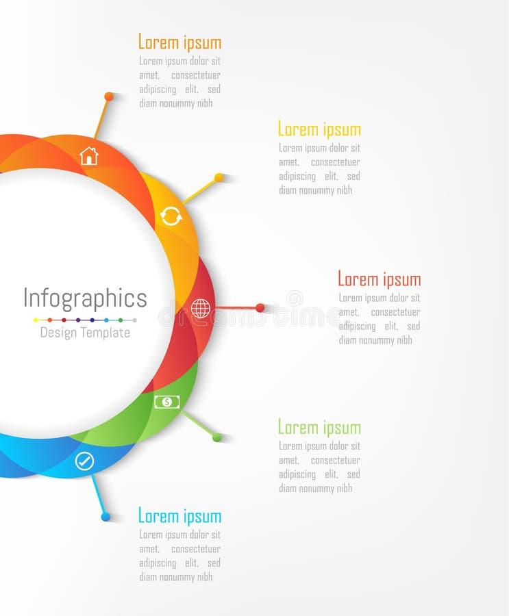 Elementos do projeto de Infographic para seus dados comerciais com 5 opções ilustração royalty free