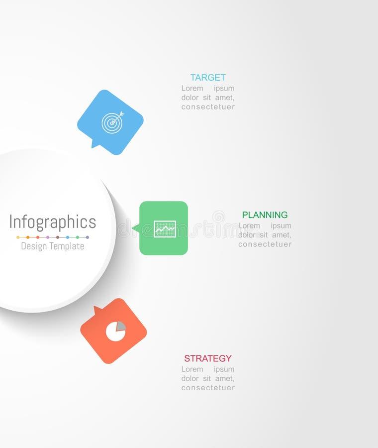Elementos do projeto de Infographic para seus dados comerciais com 3 opções ilustração royalty free