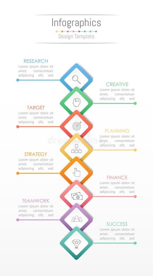 Elementos do projeto de Infographic para seus dados comerciais com 8 opções ilustração stock
