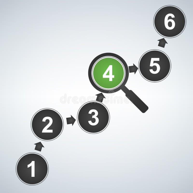 Elementos do projeto de Infographic para seus dados comerciais com 6 opções, peças, etapas, espaços temporais ou processos e ampl ilustração stock