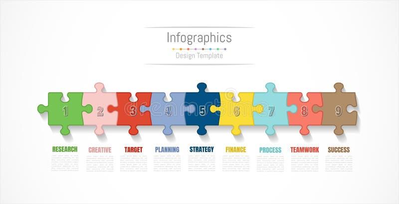 Elementos do projeto de Infographic para seus dados comerciais com 9 opções, porções, etapas, espaços temporais ou processos Veto ilustração royalty free