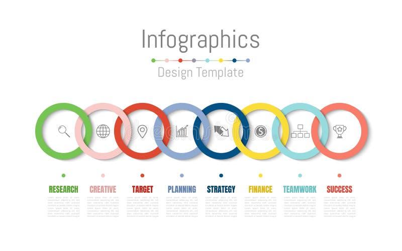 Elementos do projeto de Infographic para seus dados comerciais com 8 opções, porções, etapas, espaços temporais ou processos Veto ilustração do vetor