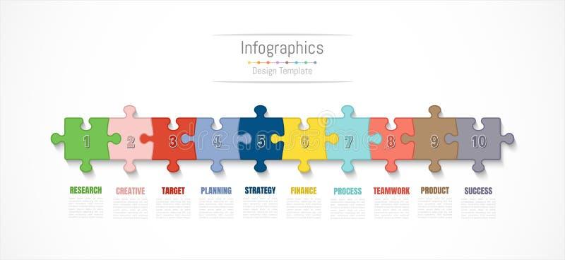 Elementos do projeto de Infographic para seus dados comerciais com 10 opções, porções, etapas, espaços temporais ou processos Vet ilustração do vetor
