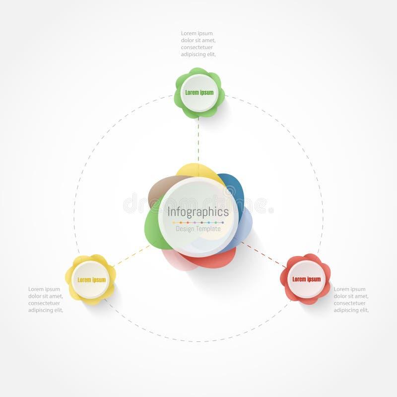 Elementos do projeto de Infographic para seus dados comerciais com 3 opções, porções, etapas, espaços temporais ou processos Veto ilustração stock