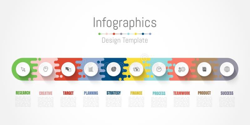 Elementos do projeto de Infographic para seus dados comerciais com 10 op??es, por??es, etapas, espa?os temporais ou processos Vet ilustração stock