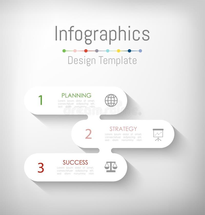 Elementos do projeto de Infographic para seus dados comerciais com 3 op??es, por??es, etapas, espa?os temporais ou processos Veto ilustração do vetor