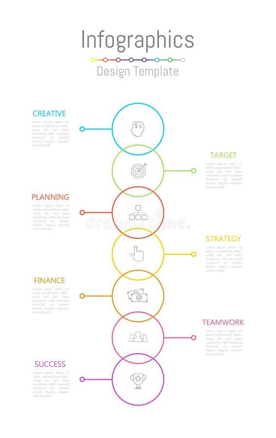 Elementos do projeto de Infographic para seus dados comerciais com 7 op??es, por??es, etapas, espa?os temporais ou processos Veto ilustração do vetor