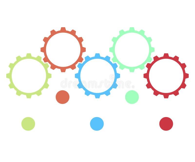 Elementos do projeto de Infographic para seus dados comerciais com peças, etapas, espaços temporais ou processos, conceito redond ilustração stock