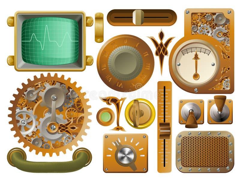 Elementos do projeto de Steampunk do Victorian