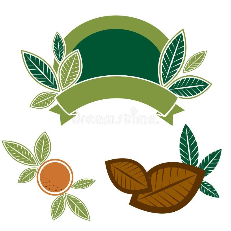 Elementos do projeto do alimento com folhas ilustração stock
