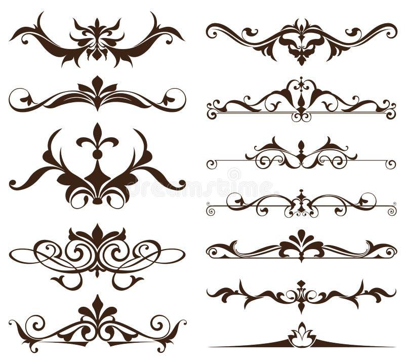Elementos do projeto do art deco de cantos dos ornamento e das beiras do vintage dos elementos simples isolados quadro dos flouri ilustração royalty free