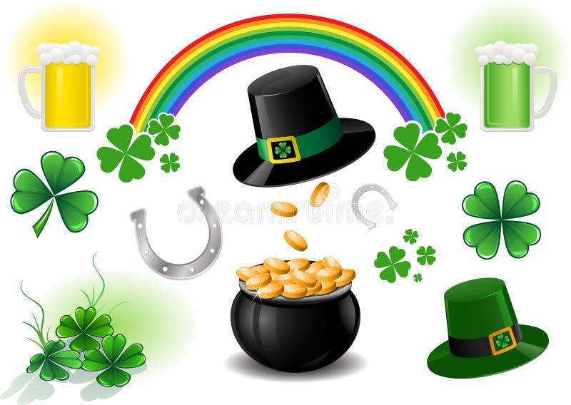 Elementos do projeto do dia do St. Patrick ilustração do vetor