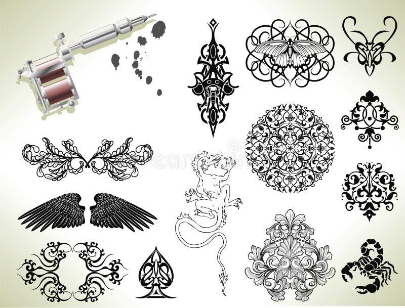 Elementos do projeto do flash do tatuagem ilustração do vetor