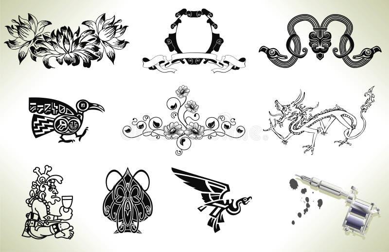Elementos do projeto do flash do tatuagem ilustração stock