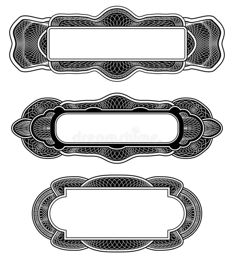 Elementos do projeto do Guilloche ilustração royalty free