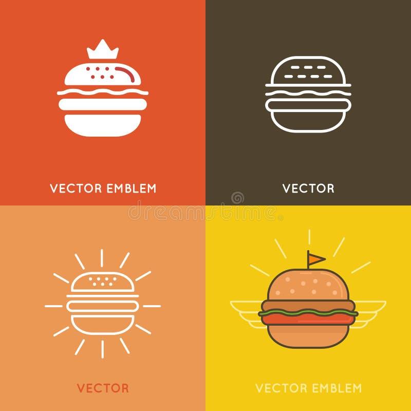 Elementos do projeto do logotipo do hamburguer do vetor ilustração royalty free