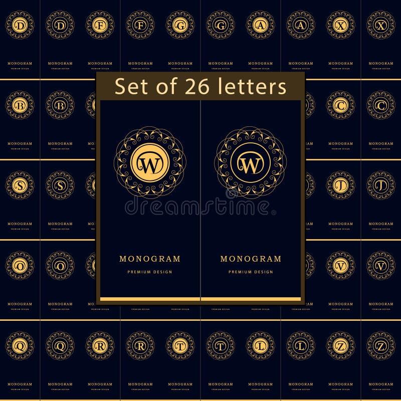 Elementos do projeto do monograma, molde gracioso Grupo de emblema das letras Linha elegante caligráfica projeto do logotipo da a ilustração do vetor