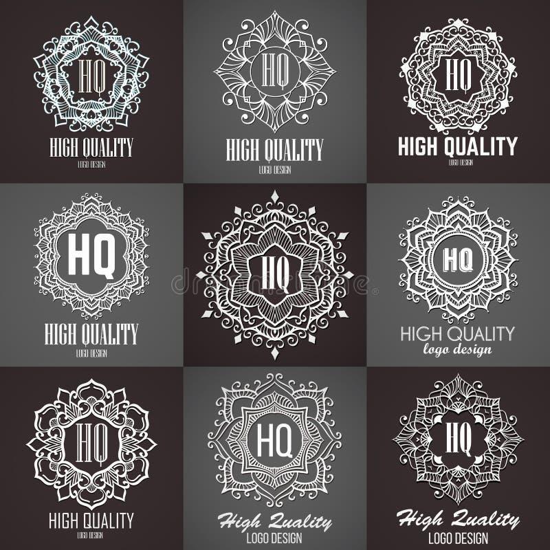 Elementos do projeto do monograma, molde gracioso Linha caligráfica projeto do logotipo da arte ilustração royalty free