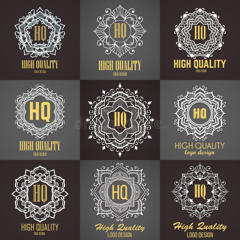 Elementos do projeto do monograma, molde gracioso Linha caligráfica projeto do logotipo da arte ilustração do vetor