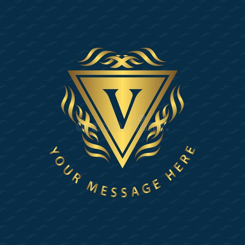 Elementos do projeto do monograma, molde gracioso Linha elegante caligráfica identidade do emblema V da letra do projeto do logot ilustração stock