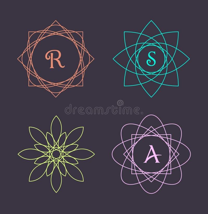 Elementos do projeto do monograma, molde gracioso Linha elegante caligráfica projeto do logotipo da arte ilustração do vetor