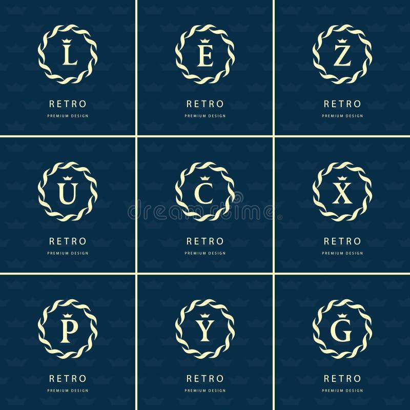 Elementos do projeto do monograma, molde gracioso Linha elegante caligráfica projeto do logotipo da arte ilustração royalty free