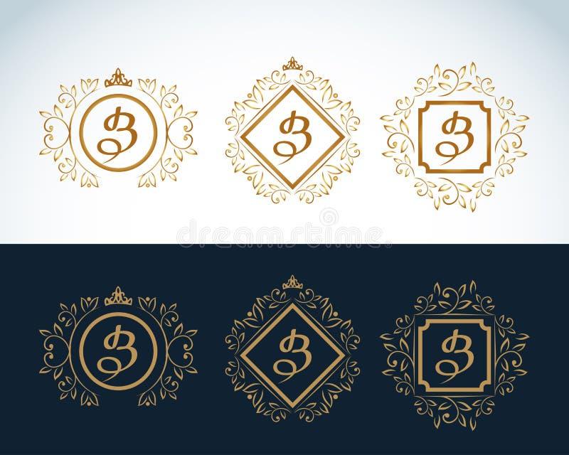 Elementos do projeto do monograma, molde gracioso Linha elegante caligráfica projeto do logotipo da arte Emblema B da letra Forma ilustração stock