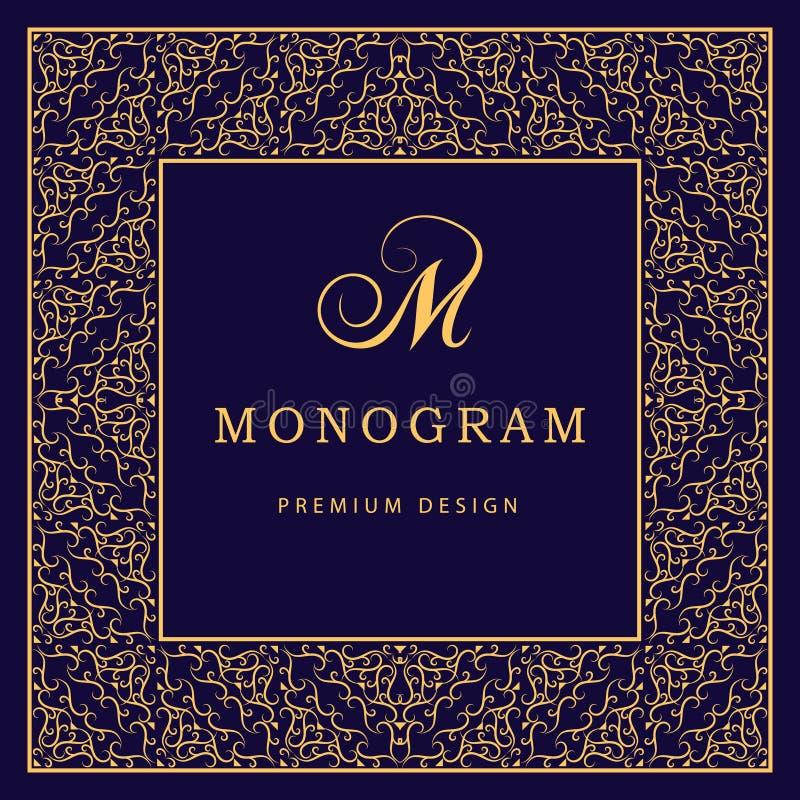 Elementos do projeto do monograma, molde gracioso Linha elegante caligráfica projeto do logotipo da arte Letra M Fundo decorativo ilustração do vetor