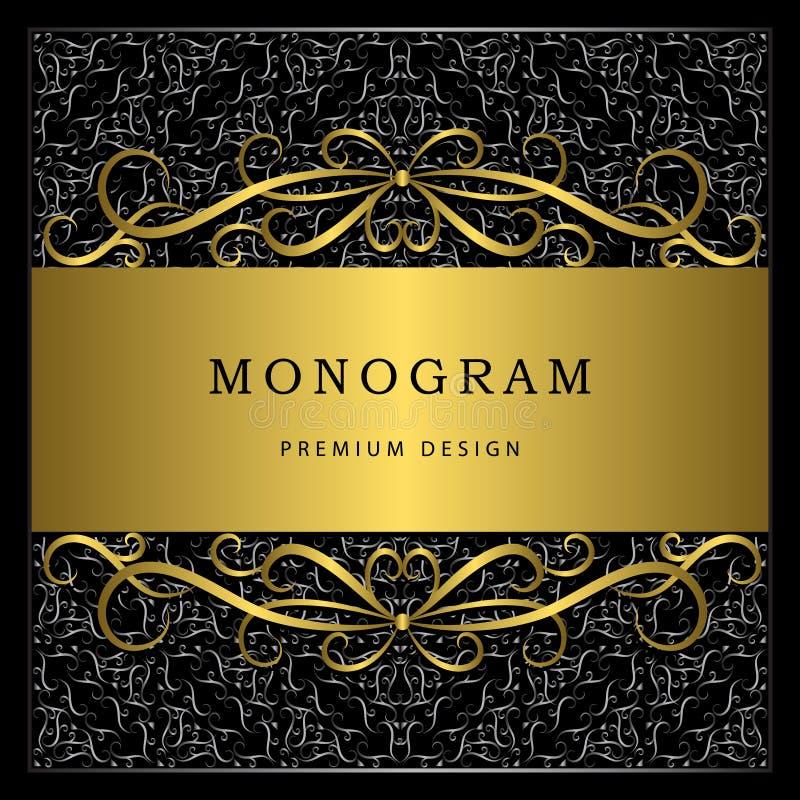 Elementos do projeto do monograma, molde gracioso Linha elegante caligráfica projeto do logotipo da arte Quadro do ouro com preto ilustração royalty free