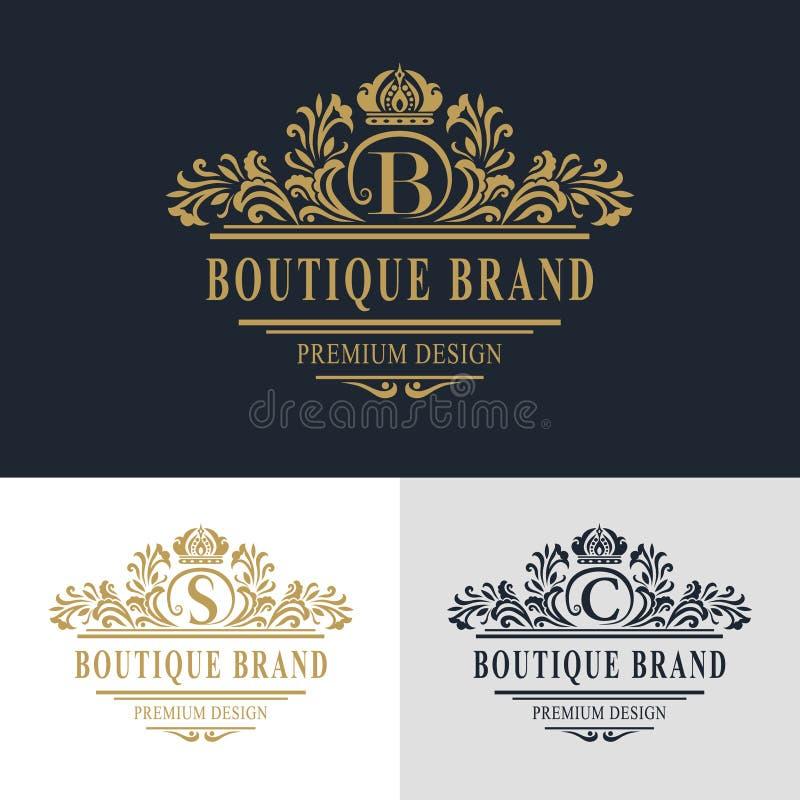 Elementos do projeto do monograma, molde gracioso Linha elegante caligráfica projeto do logotipo da arte Rotule o sinal B do embl ilustração royalty free