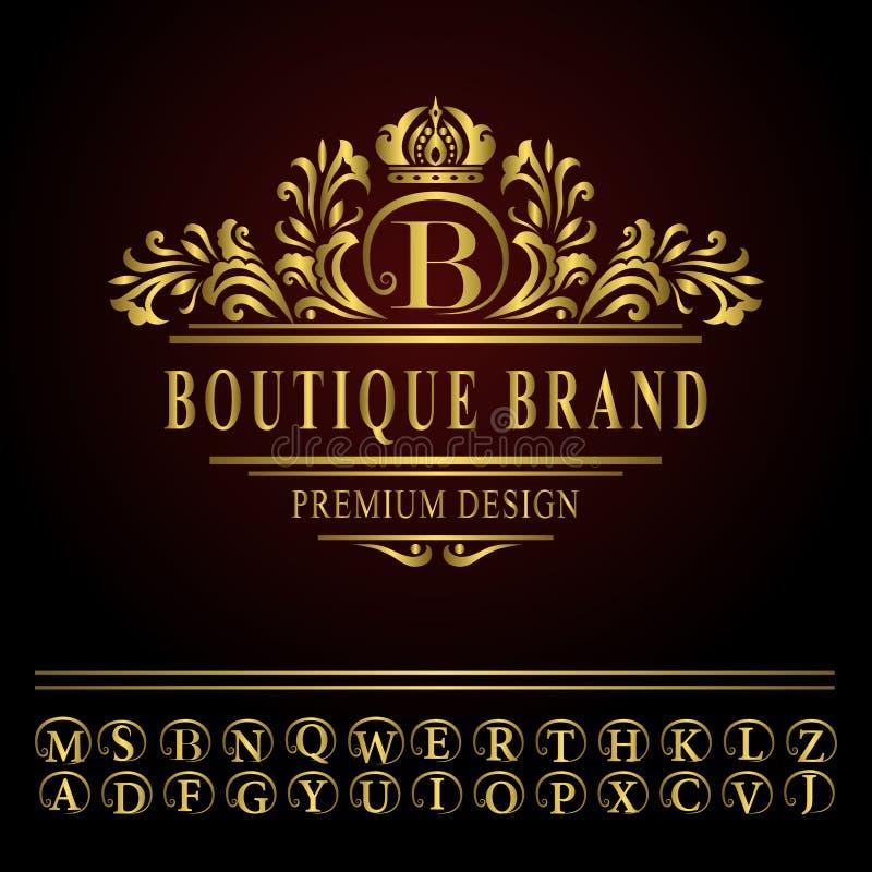 Elementos do projeto do monograma, molde gracioso Linha elegante projeto do logotipo da arte ilustração royalty free