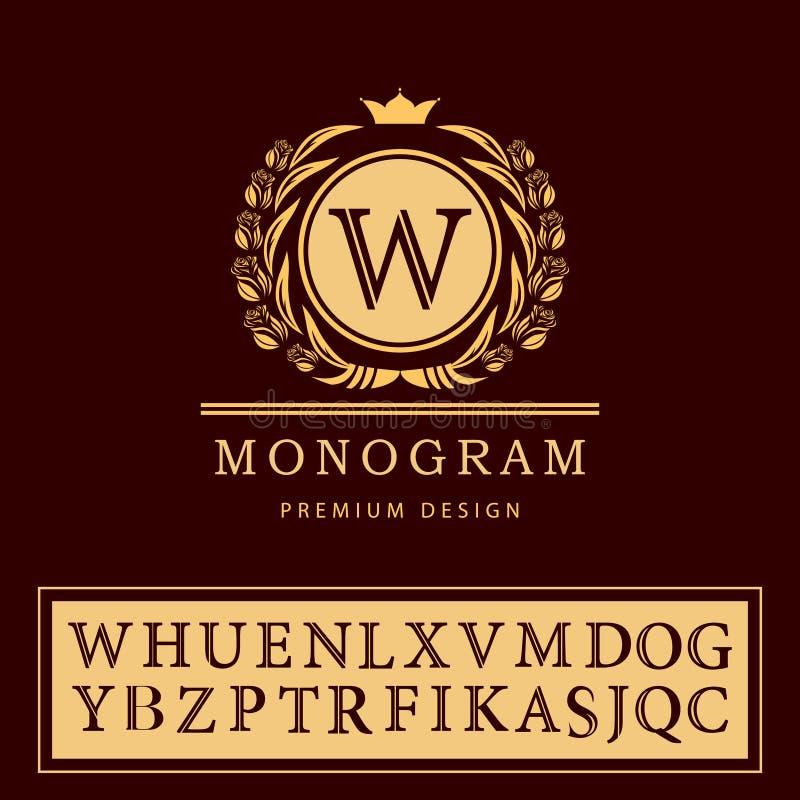 Elementos do projeto do monograma, molde gracioso Linha elegante projeto do logotipo da arte Emblema W da letra Insígnias retros  ilustração do vetor