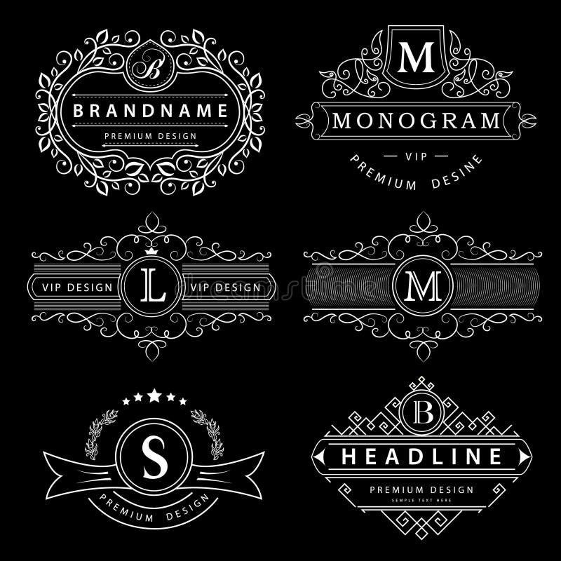 Elementos do projeto do monograma, molde gracioso Linha elegante projeto do logotipo da arte Sinal do negócio, identidade para o  ilustração do vetor