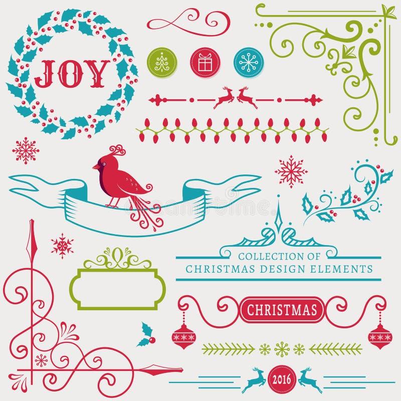 Elementos do projeto do Natal Grupo do vetor ilustração stock