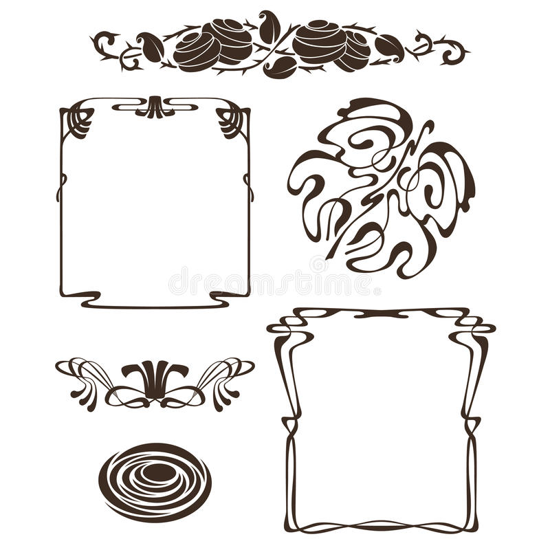 Elementos do projeto do nouveau da arte ilustração royalty free